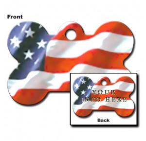 Tag bone large USA flag