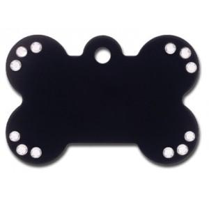 Penning Diva kluif zwart large met heldere steen