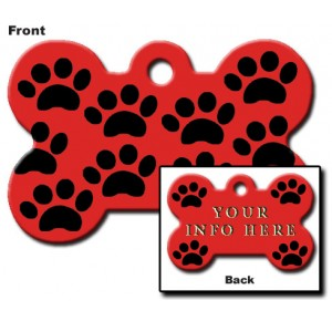 Tag bone large red with black paws