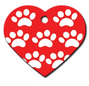 Tag heart large red with white paws