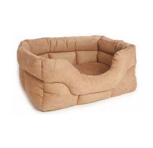 P&L Premium Rectangular Softee Dog Beds Faux Suede jumbo tan