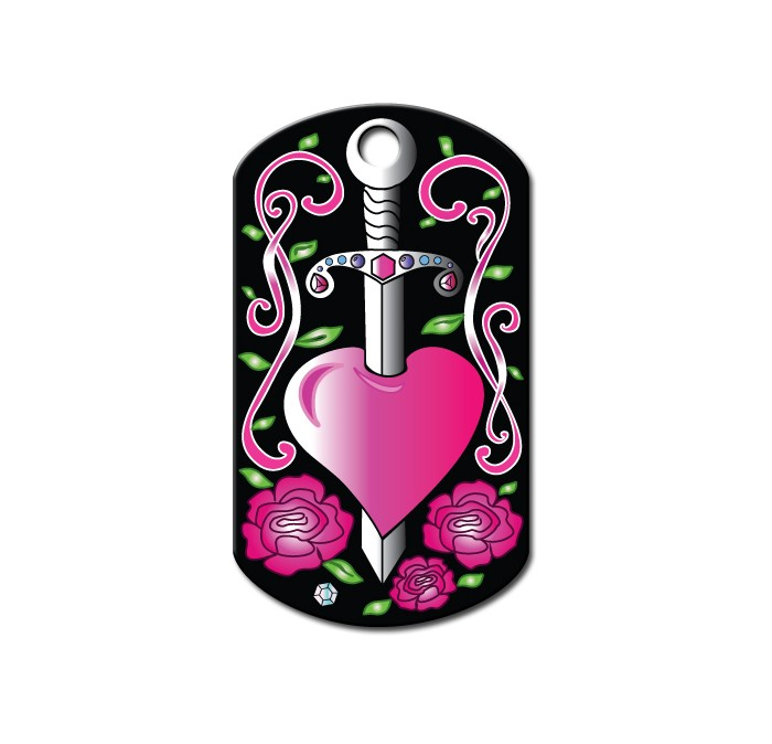 Militaire Tag  large Dagger Hearts (Ed Hardy)