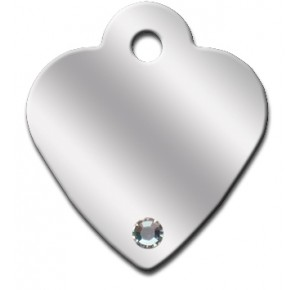Penning Diva heart chrome small met clear stone