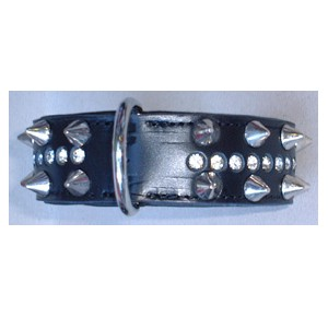 Power-Dogs Ruff Strass collar black