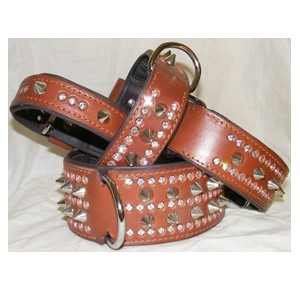 Power-Dogs Ruff Strass 2 collar brown