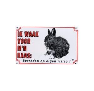 "Waakbord konijn \""ik waak....\"""
