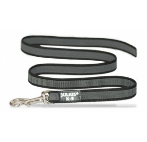 Julius K9 Super Grip Lijn 14 mm breed 1,2 meter lang zwart/grijs