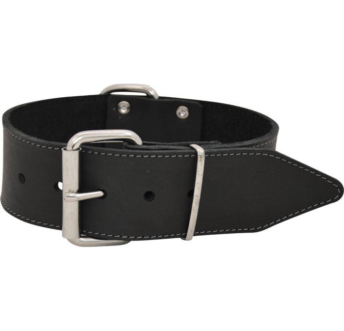 J & V Greased Leather Collar black