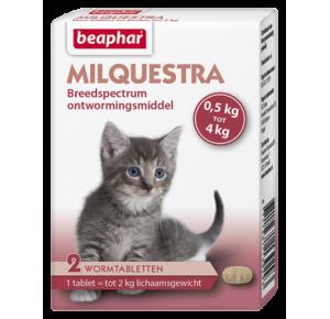 Milquestra wormtabletten kleine kat/kitten 2 tabletten